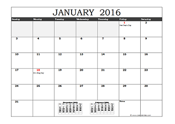 2016 Excel Calendar in Cell