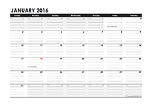 2016 Monthly calendar notes