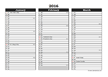 2016 Excel Three Month Calendar 01