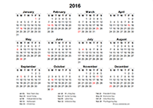 2016 excel yearly calendar