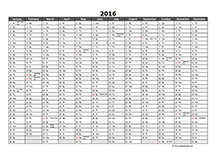 2016 Excel Yearly Calendar 04