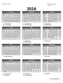 2016 Excel Yearly Calendar 05