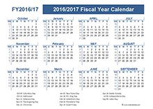 2016 Fiscal Year Calendar USA 09