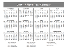 2016 Fiscal Year Calendar USA 10