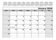 2016 Monthly Calendar Template with 12 Months at Top