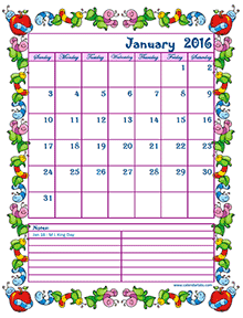 2016 monthly calendar for kids