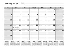 2016 Monthly Julian Calendar 12 Months Bottom