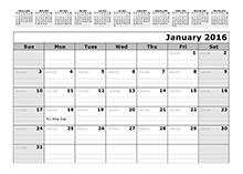 2016 julian calendar 12 month reference