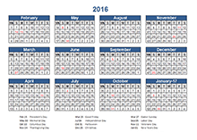 4-4-5 Retail Accounting calendar 2016