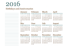 2016 yearly family calendar