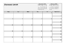 2016 blank 3-month calendar
