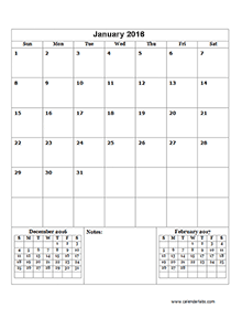 2016 3-month blank calendar one page