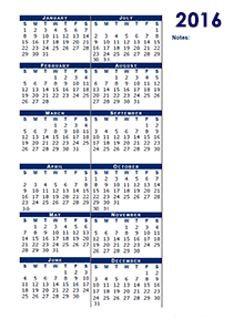 2016 blank calendar half page