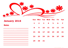 2016 yearly calendar with us holidays