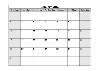 ... Calendar 2016 Template – Free Printable Blank Monthly Calendars