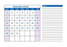 Printable 2016 blank calendar