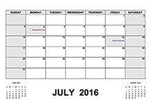 2016 Calendar With Holidays PDF