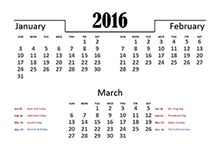 2016 Quarterly Calendar Template