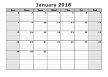 2016 Blank Calendar Templates - Download Free Printable 2016 Blank ...