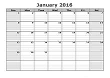 2016 free blank calendar