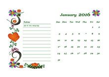 2016 Monthly Calendar Template 02