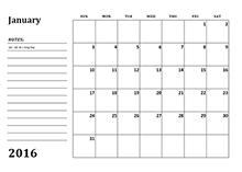 2016 monthly calendar 3