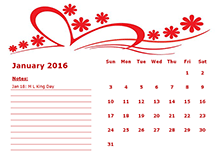 2016 Monthly Calendar Template 06