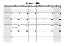 2016 Monthly Calendar Template 08