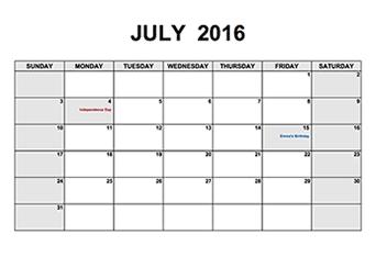 2016 Monthly Calendar PDF
