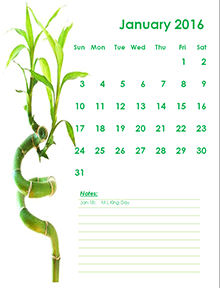 2016 Monthly Calendar Portrait 11. 2016 Monthly Bamboo Plant Design Template .  Calendar Sample Design
