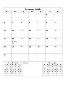 2016 Monthly Calendar Template 14