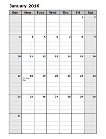2016 Monthly Calendar Template 15