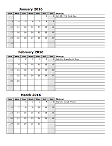 2016 Three Month Calendar Template 12L