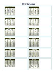 2016 yearly vertical blank calendar