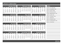 2016 Yearly Calendar Template 16L