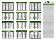 2016 yearly blank calendar landscape