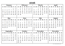 2016 Yearly Calendar Template 07