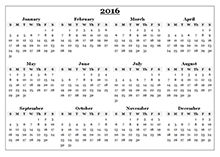 2016 Yearly Calendar Template 08