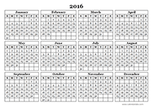 2016 Yearly Calendar Template 09