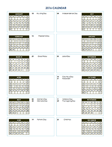 2016 Yearly Calendar Template 02