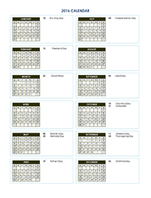 2016 Yearly Calendar Template 03