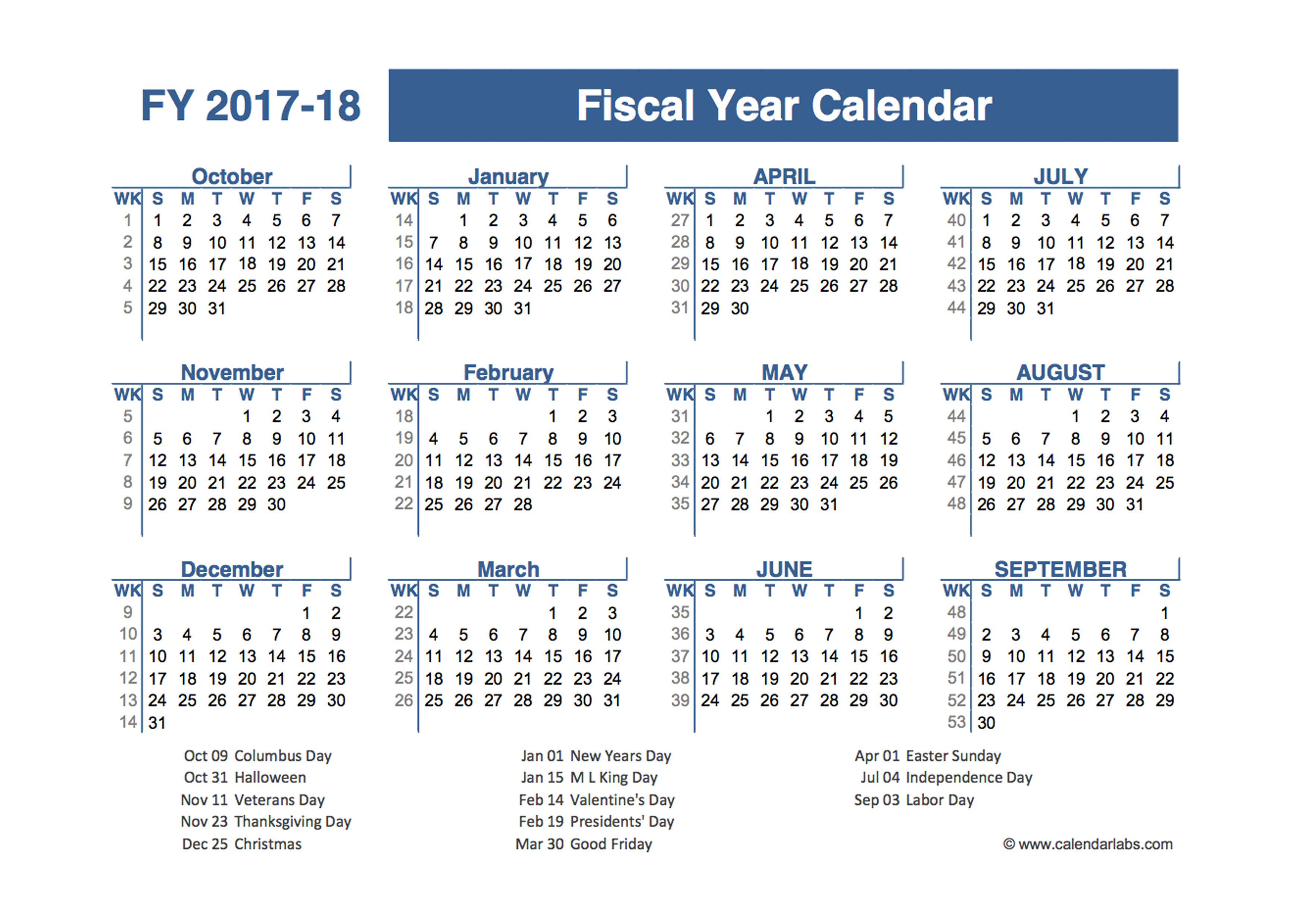 2017 2018 Fiscal Planner Us Free Printable Templates