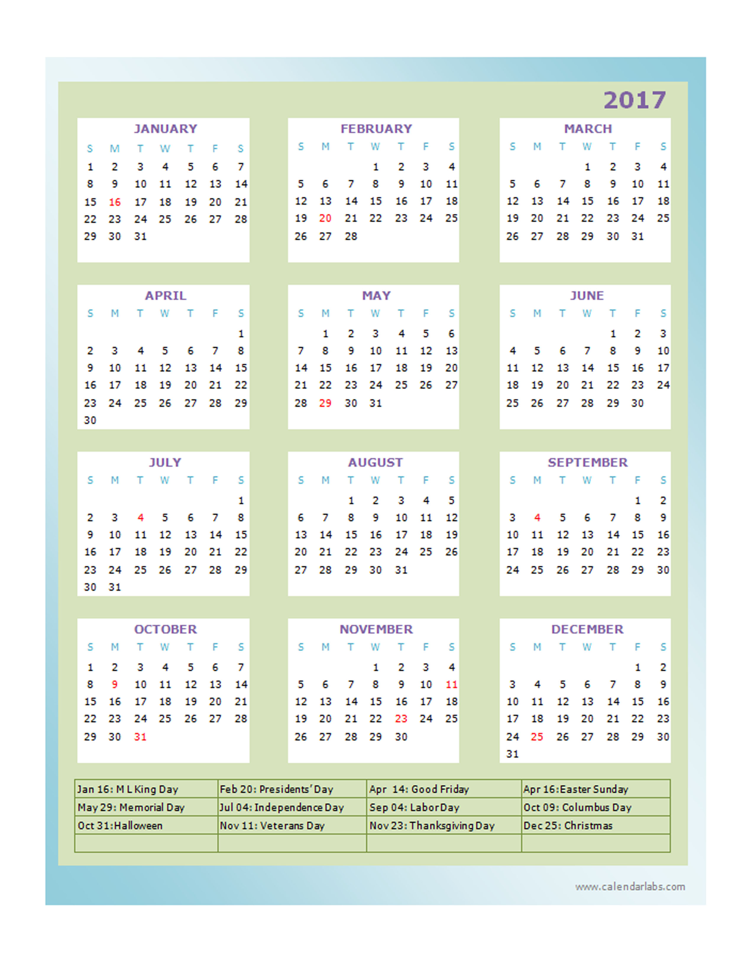 2017 Blank Yearly Calendar Template Free Printable Templates Pictures ...