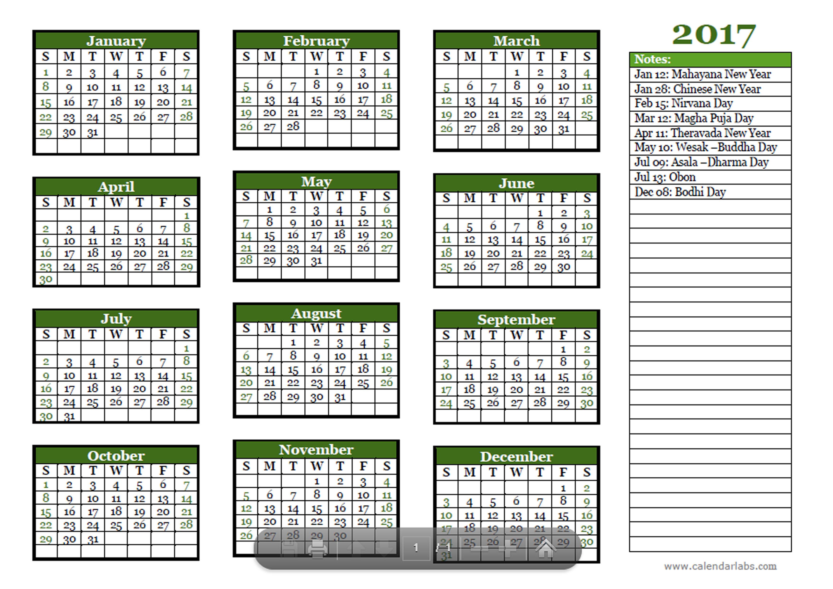 2017 Buddhist Festivals Calendar Template - Free Printable ...