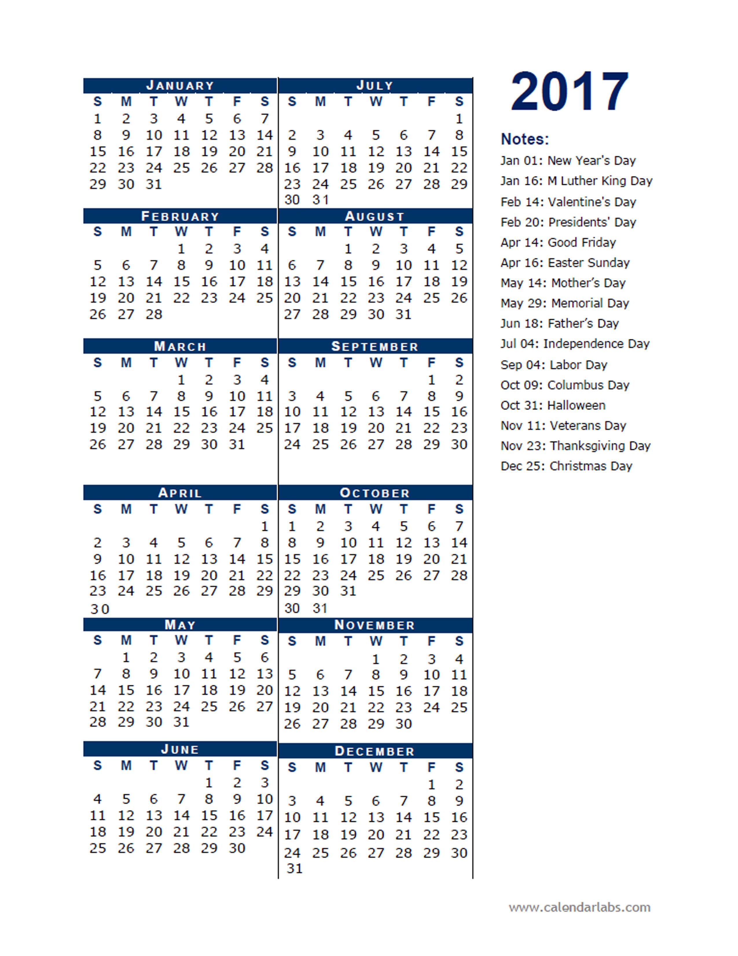 2017 Calendar Template Half Page - Free Printable Templates