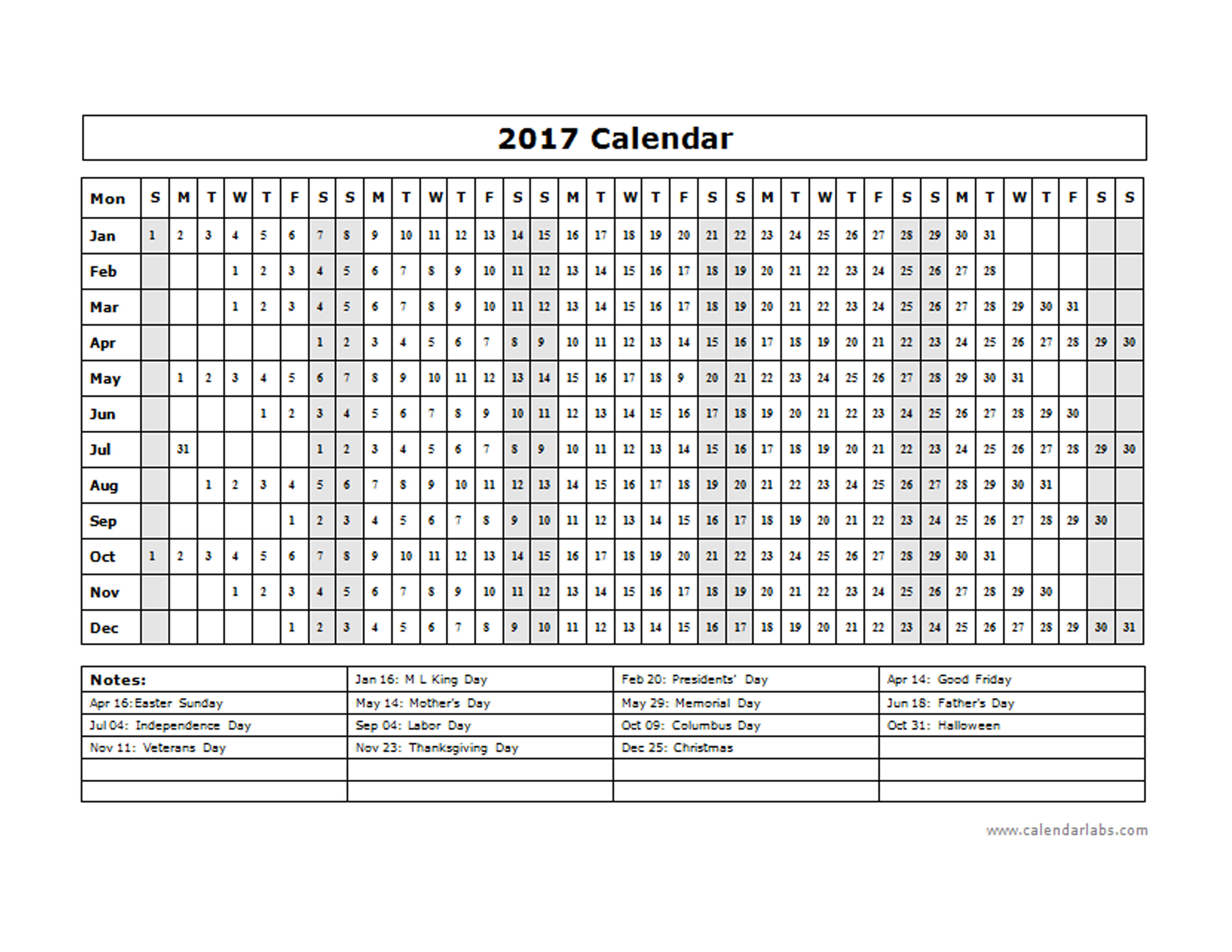 2017 Calendar Template Year at a glance - Free Printable ...