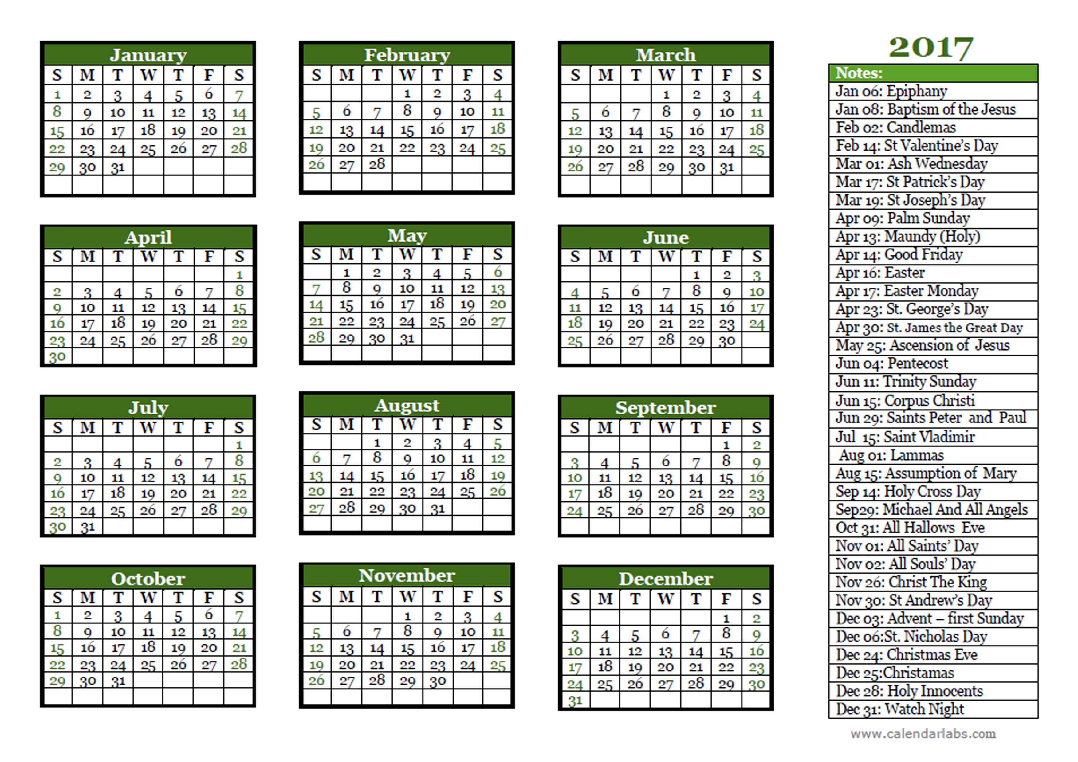 2017 Christian Festivals Calendar Template - Free Printable Templates