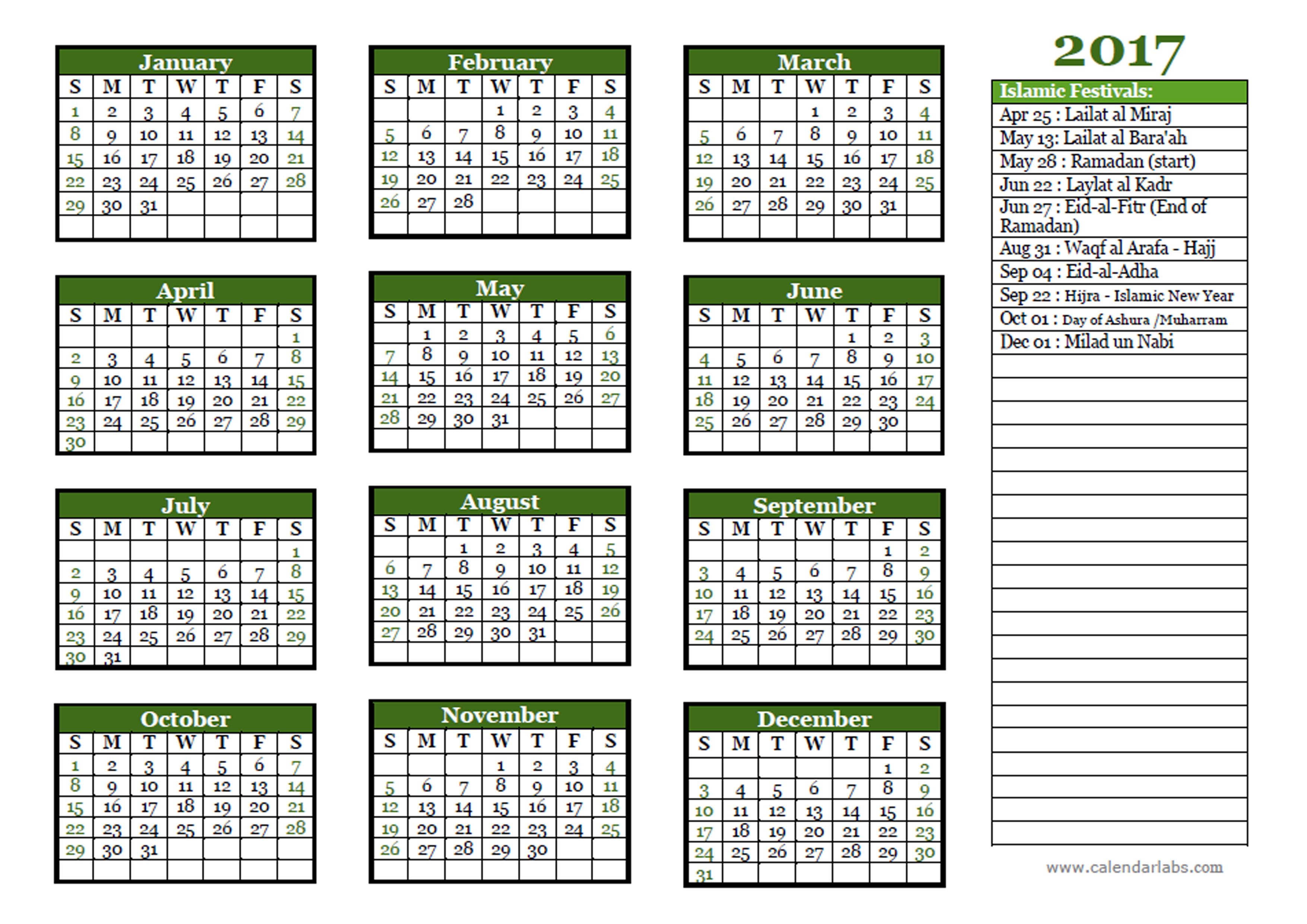 2017 Islamic Festivals Calendar Template - Free Printable ...
