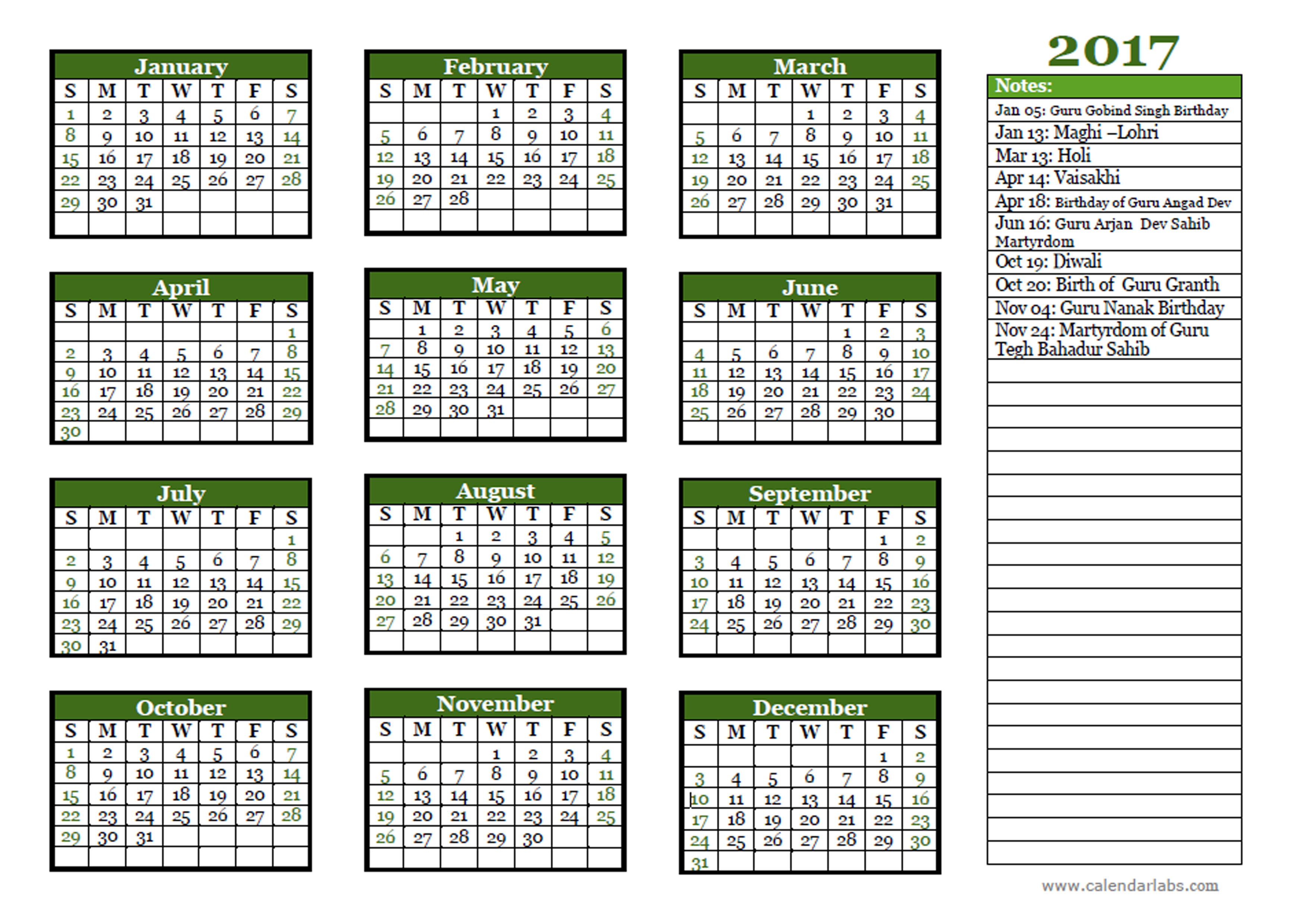 2017 Sikh Festivals Calendar Template Free Printable
