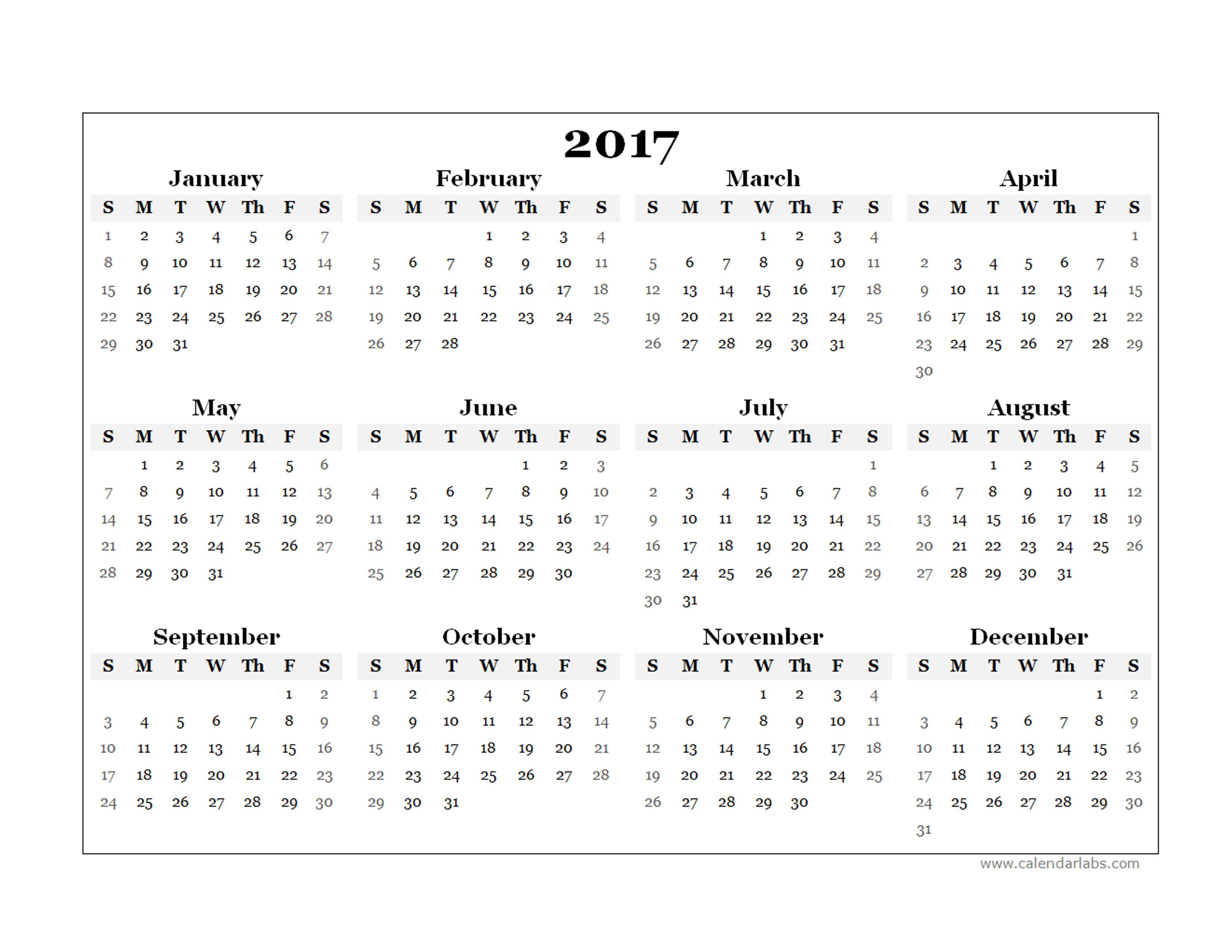 Blank Calendar 2017 : Yearly blank calendar template free printable templates